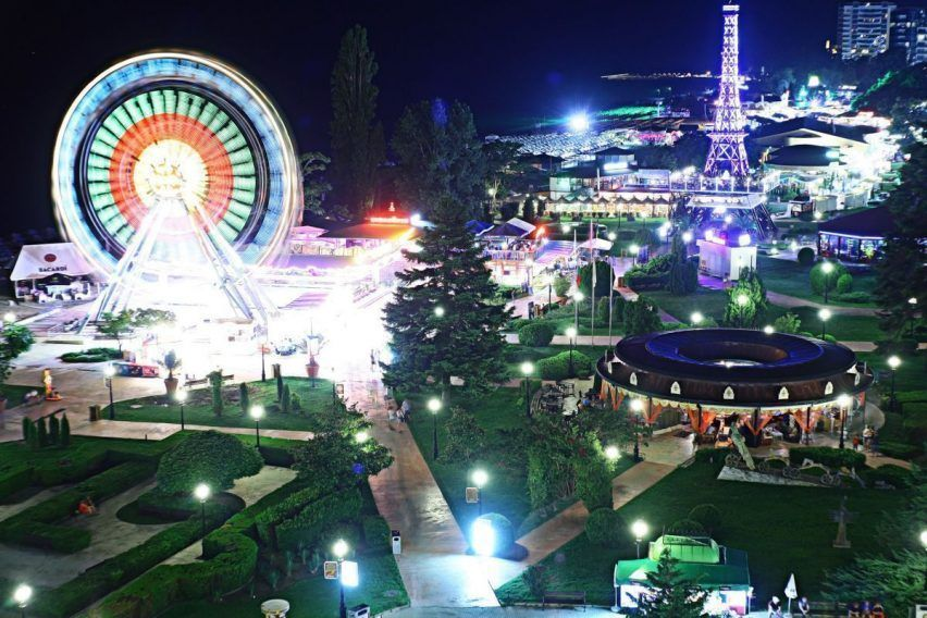 Ferris wheel amusement park night